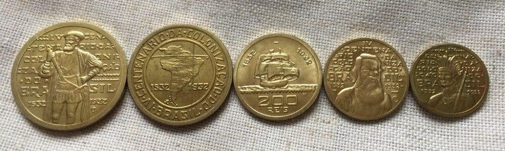 1532-1932 Brazil 1000-100 reis 5 coins COPY