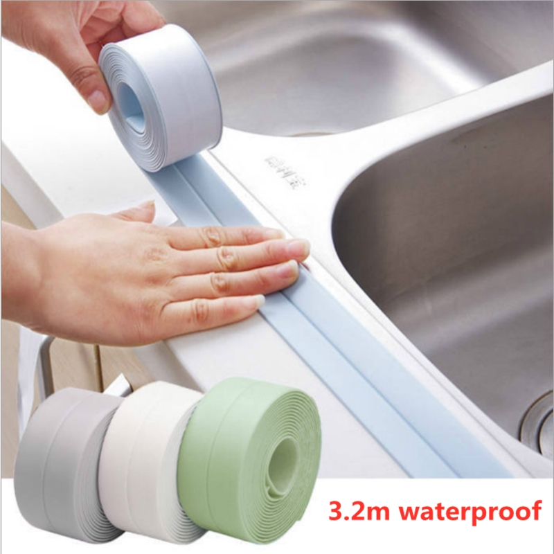 2.2cmX3.2m Self Adhesive Tape Waterproof Anti Moisture Bathroom Mosaic PVC Wall Sticker Kitchen Ceramic Stickers Home Decor image