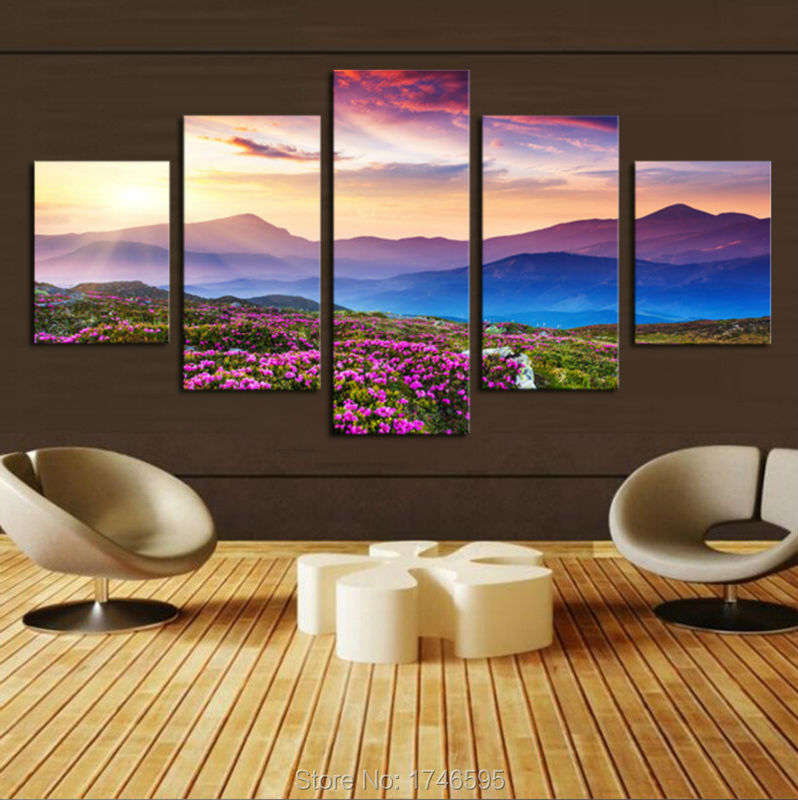 For Living Room Wall Art Decor Home Decoration Sunset Mountain Flowers Landscape Print Canvas Wall Art