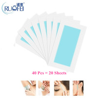40pcs=20sheets Professional Summer Hair Removal Double Sided Cold Wax Strips Pap