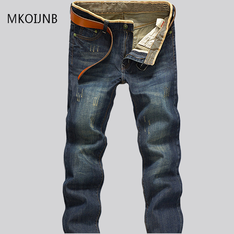 Fashion Jeans Man Young-aged Denim Jeans Casual Middle Waist Slim Long Pants Male Solid Straight Jeans  Men Classical Size 40 42 aberdeen hitz cat men s jeans slim korean straight hole young haren long pants
