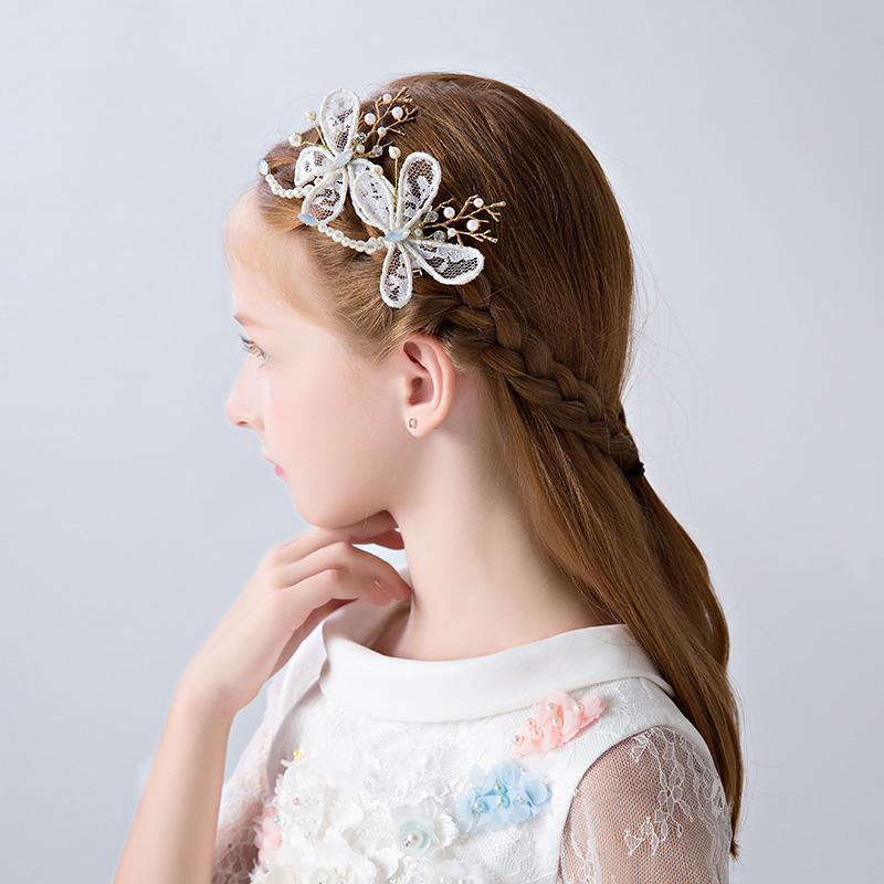 78a48d2902e2e White Beaded Butterfly Hair Clips Princess Flower Girls Headpiece Barrettes  Ornaments Fashion Headdress Birthday Christmas Gifts-in Hair Jewelry from  ...