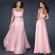 Sexy Women Sleeveless Sequins Pink Chiffon Long font b Dress b font Backless font b Evening
