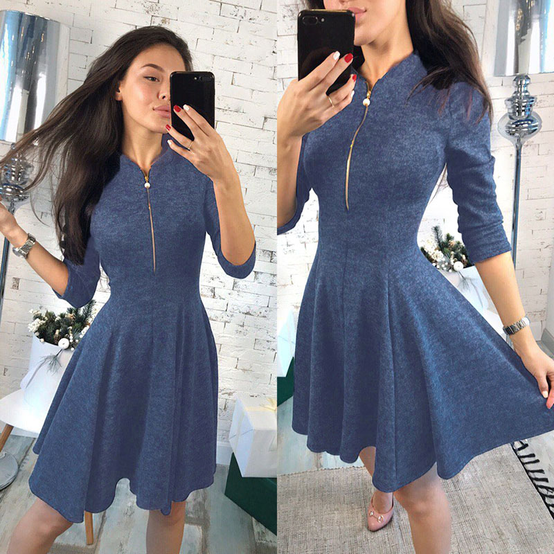 Women A-Line Dress Solid Bust Zipper V Neck Stand Collar Flare 3 4 cc5c75e4f