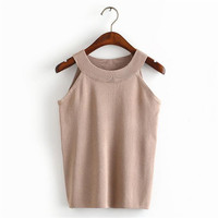 Merry Pretty High Waist 90s Short Camis Camisole Cable Rib Elastic Knitted Crop Top Sexy Summer