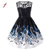 Feitong Womens Ladies Printing Lace Sleeveless Evening Party Dress Vintage Dress Plus Size