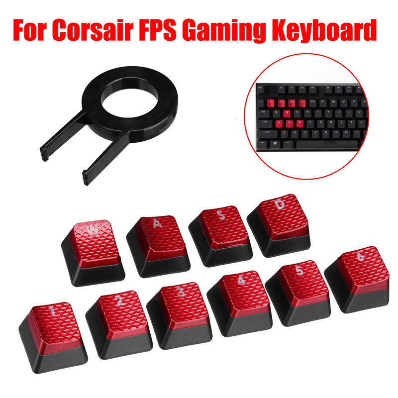 10Pcs Cool Red Backlit Key Caps Keycap for Corsair FPS Gamin…
