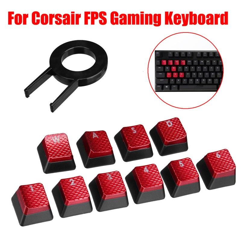 10Pcs Cool Red Backlit Key Caps Keycap for Corsair FPS Gaming Keyboard MX Key cskwin 2015 Mechanical Gaming Keyboard