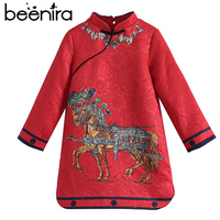 2017 Beenira European And American Style Children Embroidery Horse Full Sleeve Princess Dress Kids Autumn Clothes