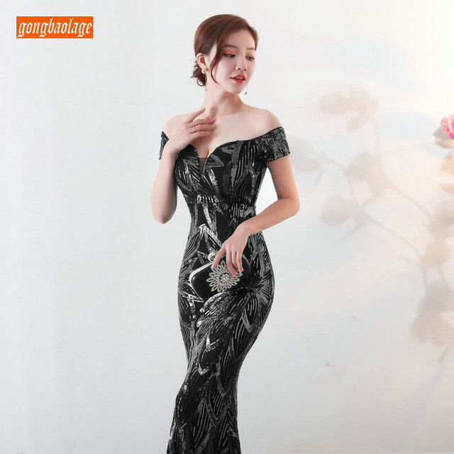 Sumptuous Mermaid Prom Dresses Women Party 2019 Reflective Dress Prom Sequined Special Occasion Dresses Formal Gowns Real Photos 4