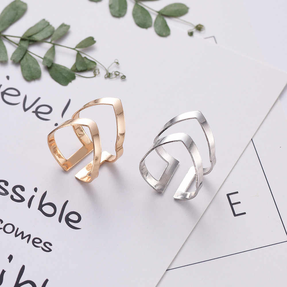 2019 New Gold Silver Geometric Shaped Ring Adjustable Opening Wrap Finger Rings with Velvet Bag for Women Fashion Jewelry Bijoux