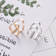 2018 New Gold Silver Geometric Shaped Ring Adjustable Opening Wrap Finger Rings with Velvet Bag for Women Fashion Jewelry Bijoux(China)