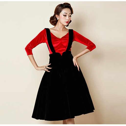 9215d4816 30- women vintage 50s Audrey Hepburn velvet swing midi suspender skirt in  black burgundy plus