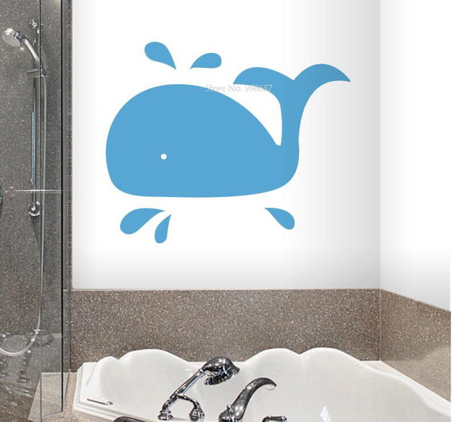 Whale Wall Art Decals Removable Home Decoration Bathroom Vinyl Wall  Stickers For Ocean Theme Room Waterproof