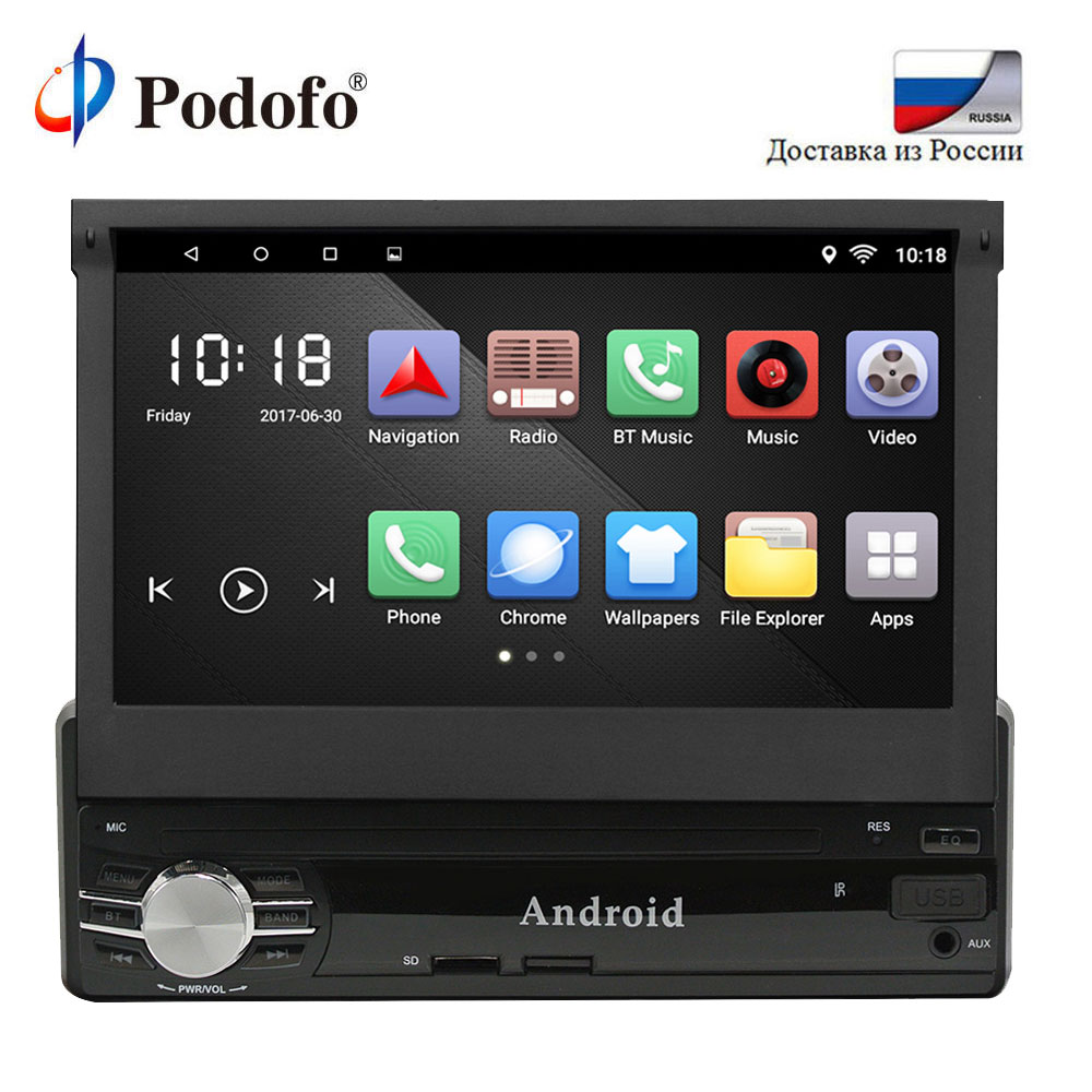 Podofo 1 Din Android Car Multimedia 7 Inch Quad Core 6.0 1G+16G Car Styling Autoradio Android Car Audio Player Bluetooth WIFI
