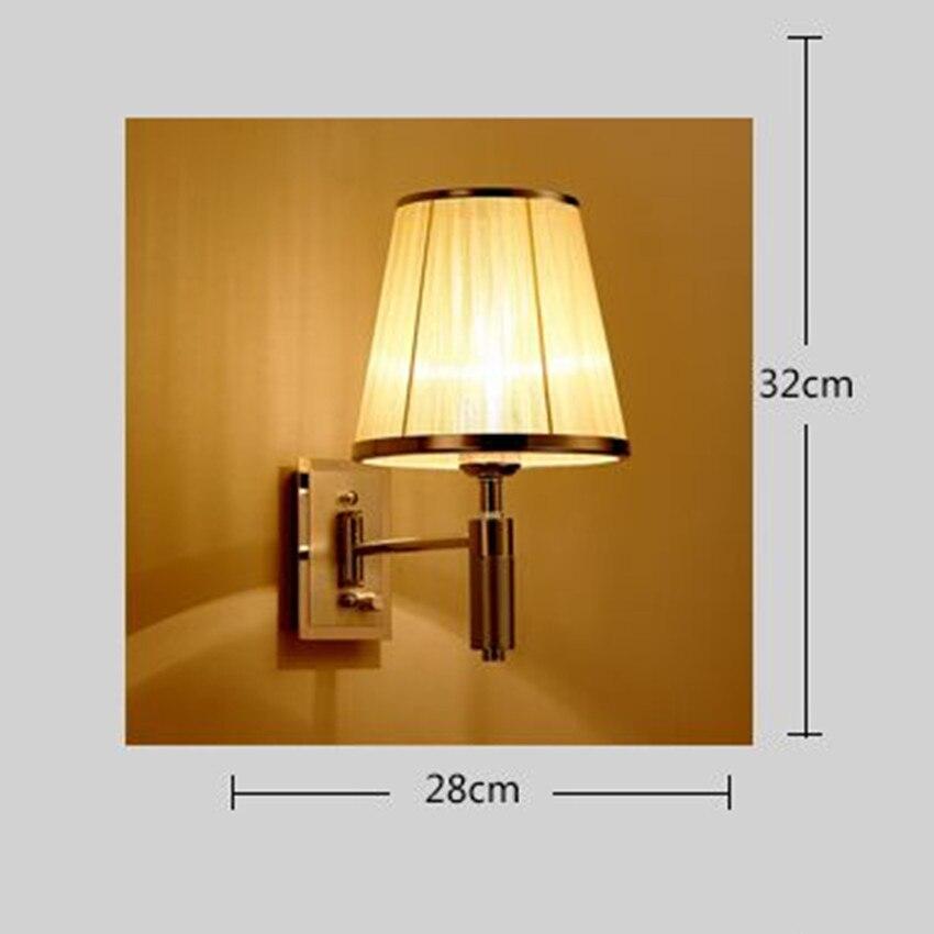 Современный простой затемнения Ручка переключатель бра гостей отеля 180 dregee вращающийся инженерных лампа Ткань спальня ночники