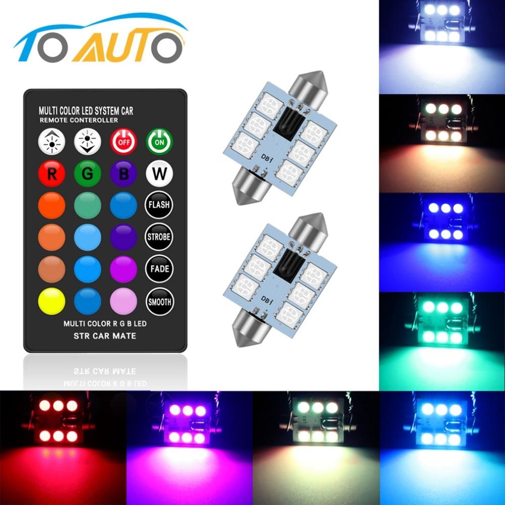 C5W LED Festoon 41 39 36 31mm mm mm mm RGB com Controle Remoto Luzes Multicolor Cúpula Interior Do Carro lâmpada de Leitura de luz Auto 12 v