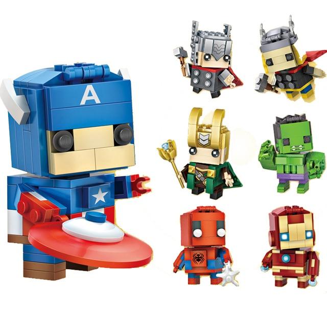 Micro-perfurado Modelo blocos de construção da série de Super-heróis marvel Homem De Ferro Hulk Spiderman Legoings cidade Tijolos crianças Brinquedo de presente