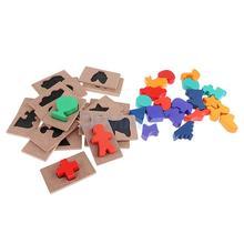 Дети Детские Монтессори Деревянные тень соответствия вставить доски игрушка головоломки паззлы подарок раннего обучения развива