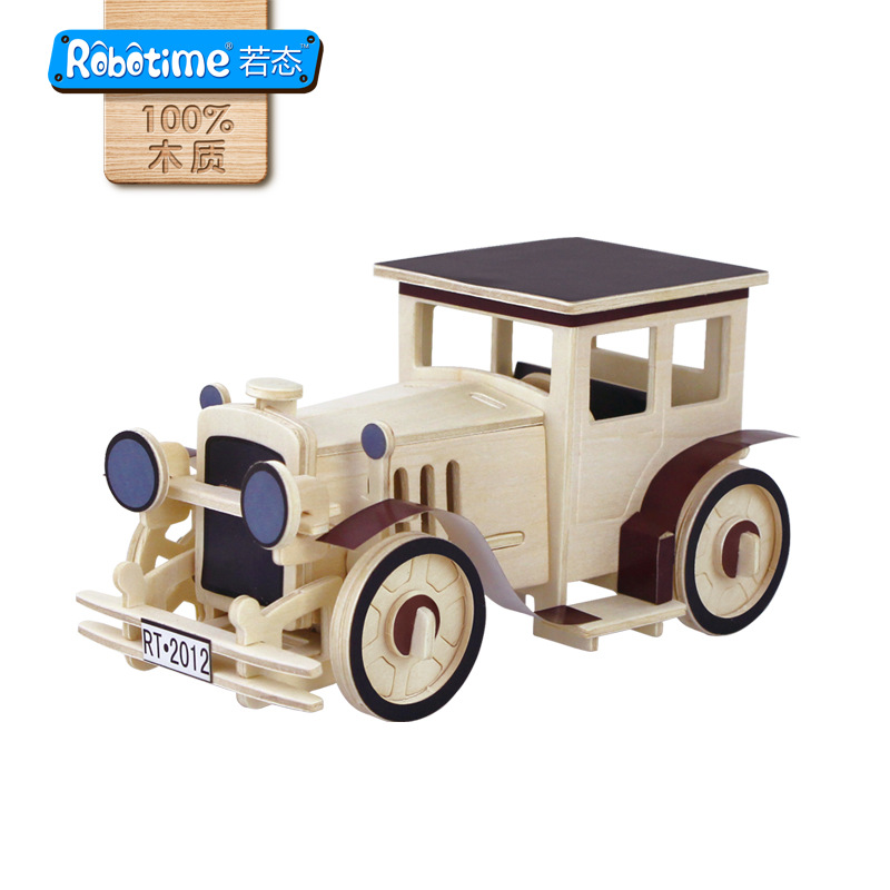 wholesale 3D wooden puzzle Interesting toy Gift Adornment Home furnishings  Hot sale Classical airplane Antique car