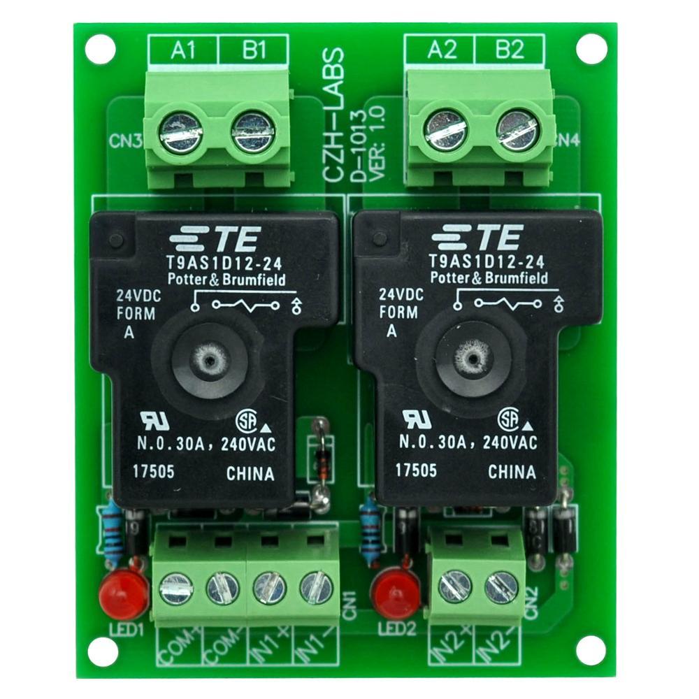 CZH-Labs 24V Passive 2 SPST-NO 30Amp Power Relay Module Board.