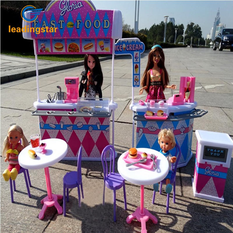 LeadingStar Barbie Size Dollhouse Furniture Kitchen Burger Fast Food Restaurant Pretend Play Fun Playset Toys for Baby Girls fast food leisure fast food equipment stainless steel gas fryer 3l spanish churro maker machine