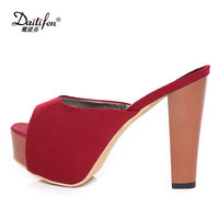 Daitifen Summer Stylish Women Platform Slippers Super High Heel Peep Toe Shoes Ladies Soft Party Outdoor