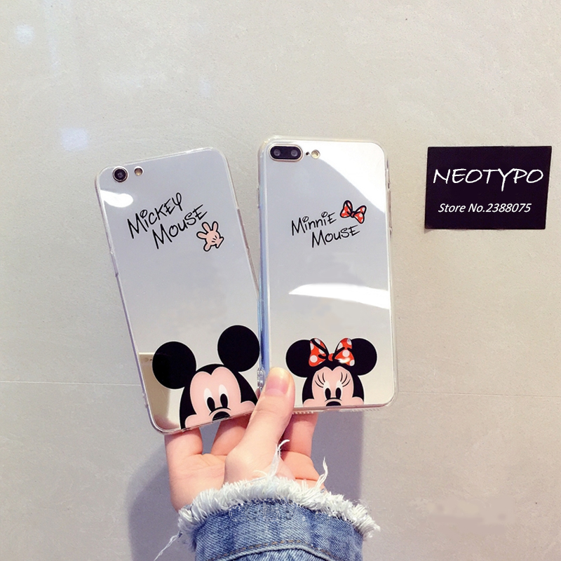 Hot sell Mirror Minnie Mickey Mouse Soft TPU Phone Cases for iPhones X 6 6s 7 8 Plus Cartoon Cute Cover silicone Slim Housing