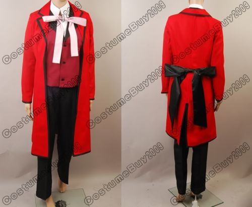 Anime Black Butler Shinigami Grell Sutcliff Red Death Cosplay Costume Halloween Costume black butler kuroshitsuji grell sutcliff cosplay wigs long red synthetic hair women girl anime party wig red glasses chain