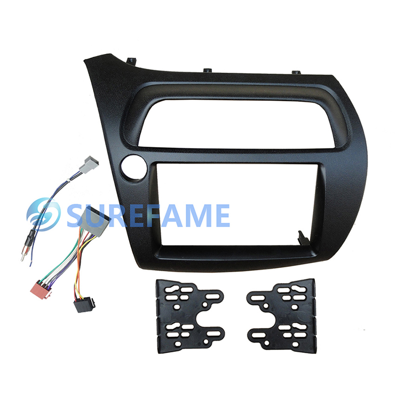 Double Din Car Trim Surround Panel for Honda For Civic FN LHD with Wire Harness Antenna