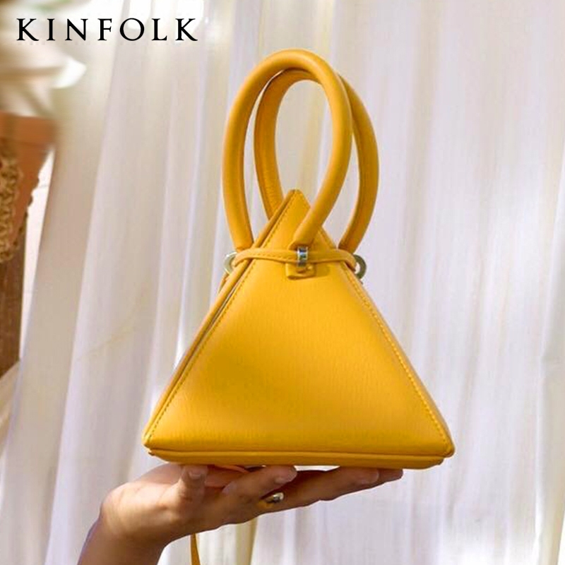 2019 New Wave Super Celebrity Three-dimensional Triangle Bag Drawstring Lemon Yellow Handbag Pyramid Dinner Bag