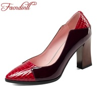 FACNDINLL genuine leather women pumps fashion high heels pointed toe shoes woman dress party office ladies shoes pumps size 43
