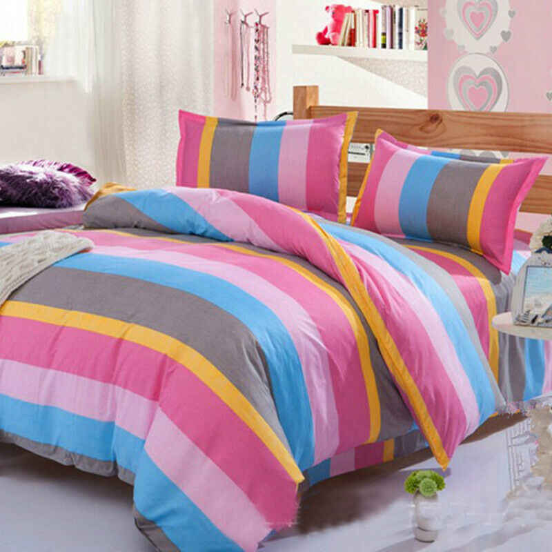 Bedding Sets Print Floral Soft Bed Quilt Duvet Cover Set Queen King Quilted Pillowcase Set Simple Style Sheet Bedding Set