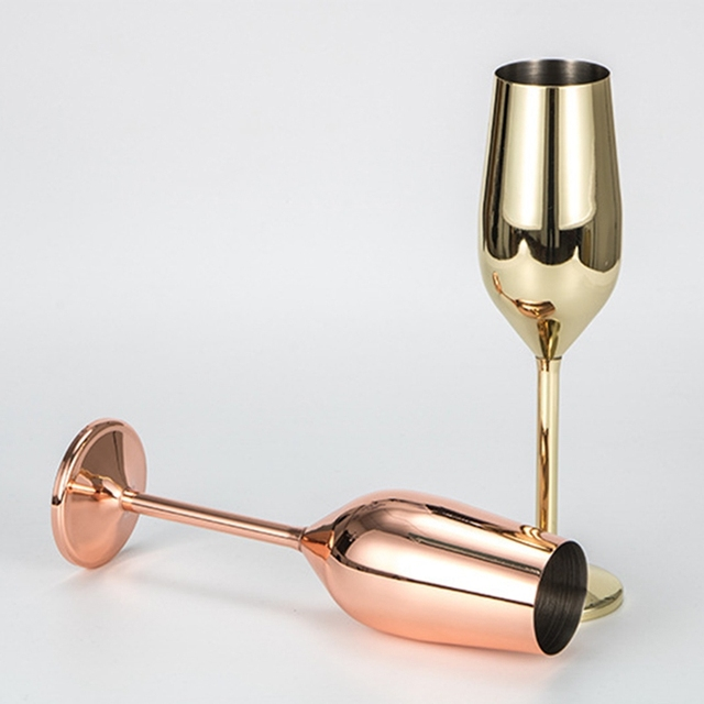 Reflective Stainless Steel Wine Goblets