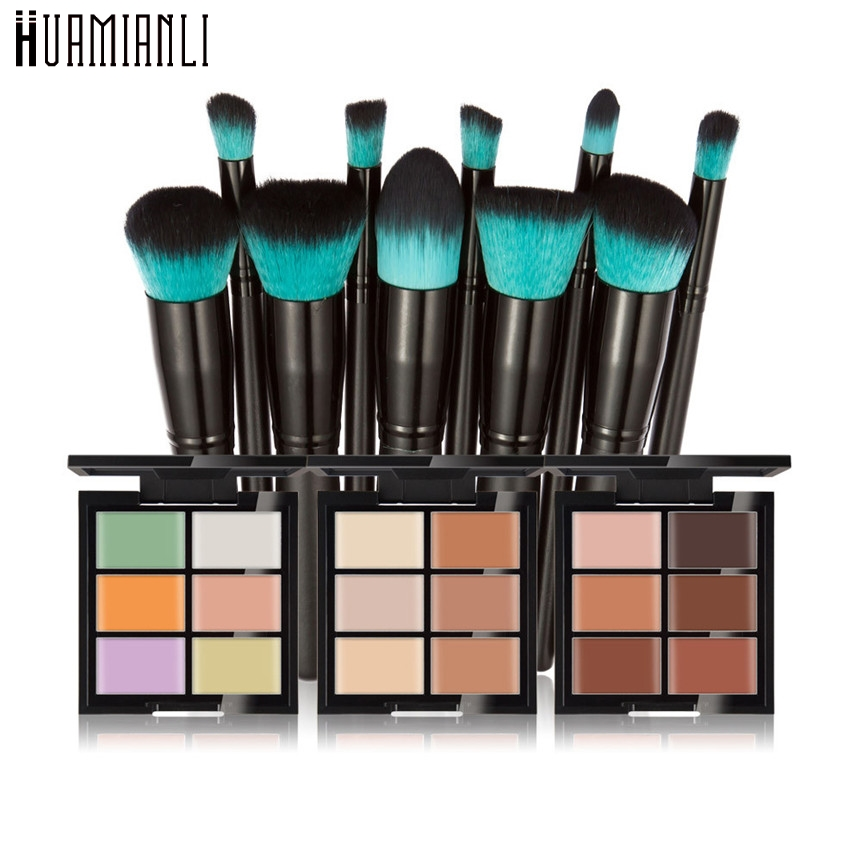 Huamianli Love Beauty 1 Box Six Color Face Concealer Primer+10pcs Foundation Powder Cosmetic Makeup Brushes 161124 Drop Shipping