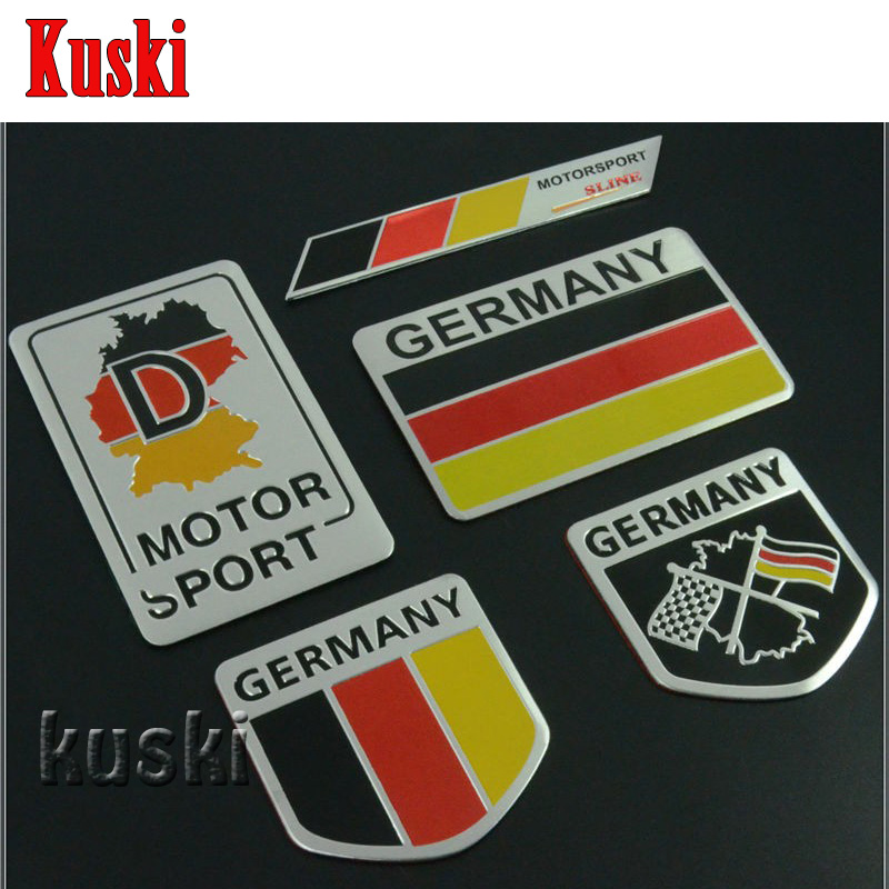 Metal aluminium car emblem badge decal sticker racing motorsport germany german flag for vw benz bmw audi free shipping in car stickers from automobiles