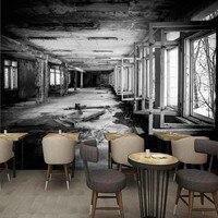 Fotoğraf duvar kağıdı Modern kişilik nostaljik retro fabrika siyah beyaz graffiti Duvar lobi oturma odası stüdyo duvar