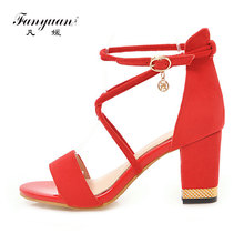 Fanyuan Italian fashion women Cross Strap shoes Summer Sandals concise Solid high Thick heels elegant Wedding Party lady Sandals latest red color brilliant summer sandals pumps italian shoes rhinestones african shoes italian elegant wedding shoes yzg7 47