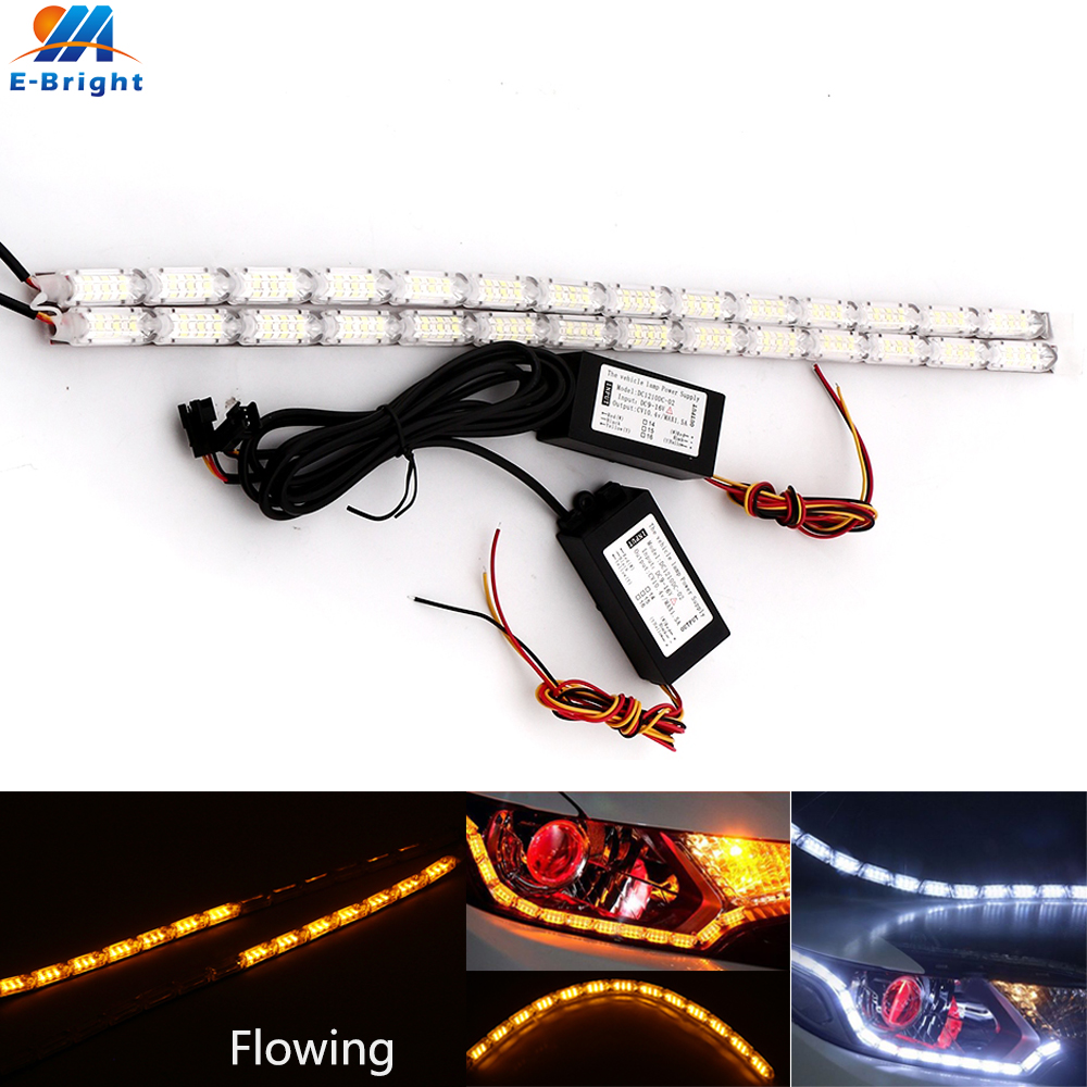 2pcs (1pair) Flexible Crystal Tears Lamp White Daytime Running Light DRL Amber Flowing Turn Signal Lamp 12V Car Styling strip 2 5w 12x5050 smd led green light car decoration daytime running flexible strip lamp 12v