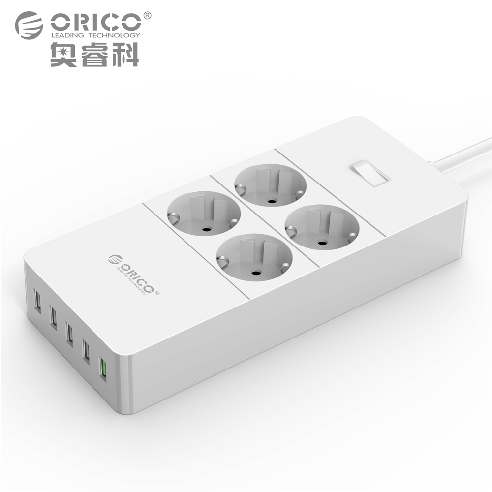 ORICO HPC-V1 USB Electrical Socket 4 AC Outlets and 5 USB Ports Power Strip Quick Charger 2.0 with 1.5M Cable EU Plug White fast charging usb charger power travel adapter strip switch led display screen with 8 usb socket ports for us uk eu plug sockets