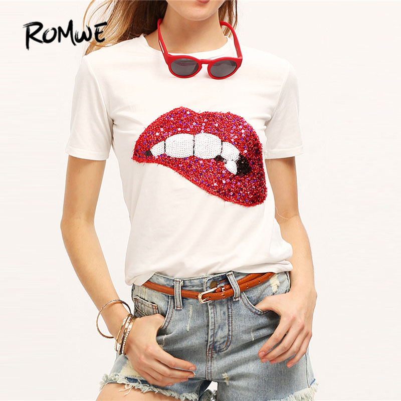ROMWE Sequined Sparkely Glittery Cozy Costume Lip Print T Shirt Women Short Sleeve Round Neck 2018 White Summer Tops