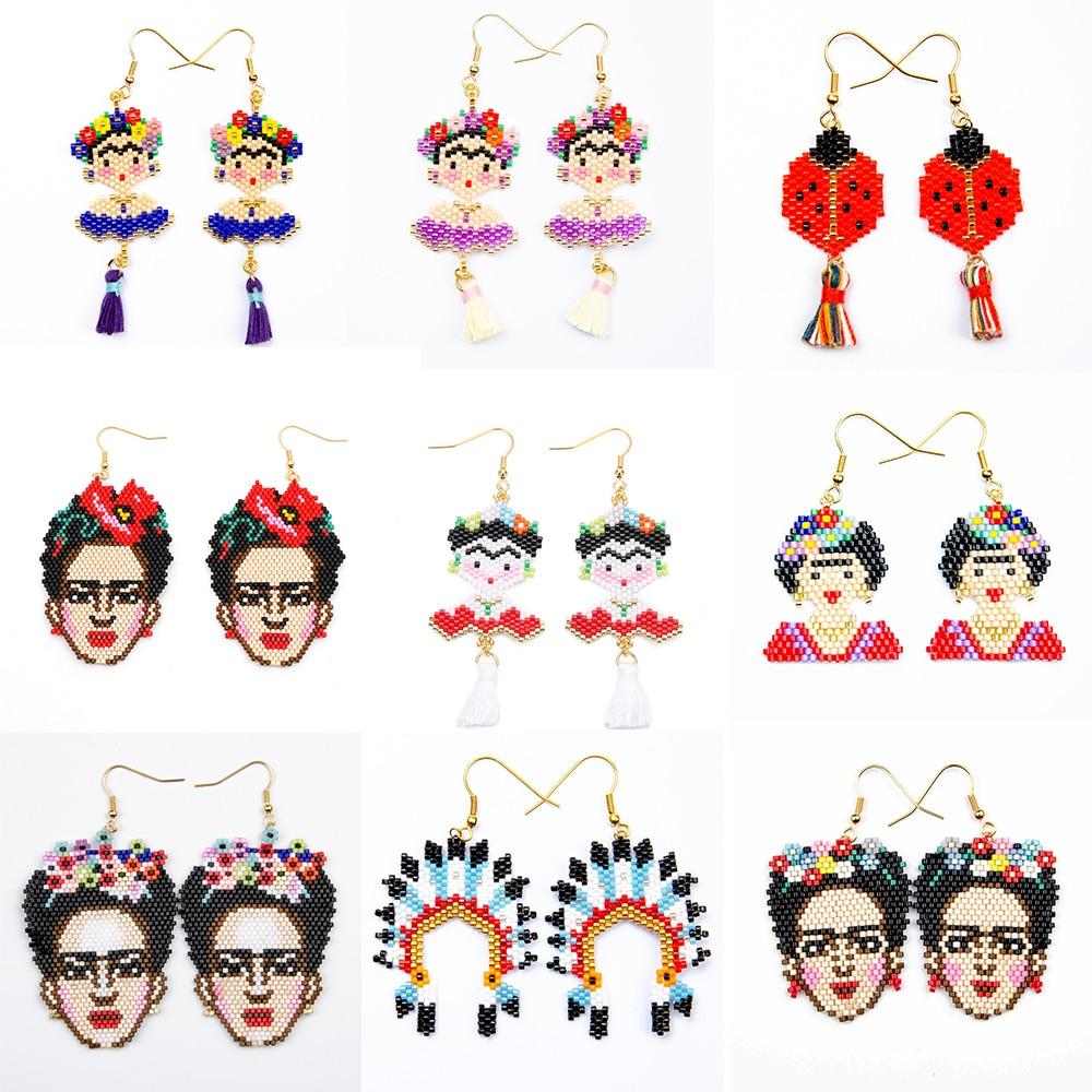 Frida Kahlo Antique Silver Drop Earrings Cartoon Mexico Artist Flowers