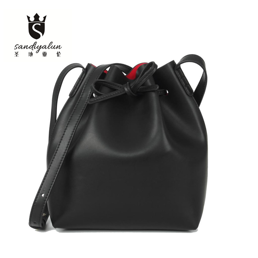 ФОТО 2016 Fashion Candy Color Women Bags Genuine Leather Bucket Handbag Ladies Real Leather Shoulder Cross Body Women's Handbags