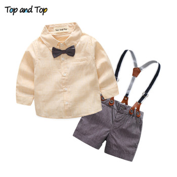 top and top fashion baby boy clothing set long sleeve shirt + suspender shorts newborn baby boys gentleman clothes suit