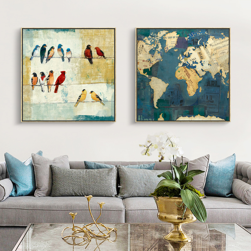 Vintage Stamp Canvas Painting Retro Wall Bird Prints Map Prints Home Decoration for Office frameless Picture Photo Decor