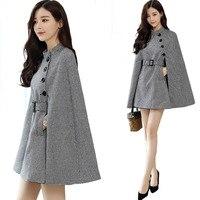 REDCORE Autumn Ladies Coats Wool Blend Women Tops Plaid Coat Women Plus Size Casual Cloak Outerwear Womens Abrigos Mujer NDY004