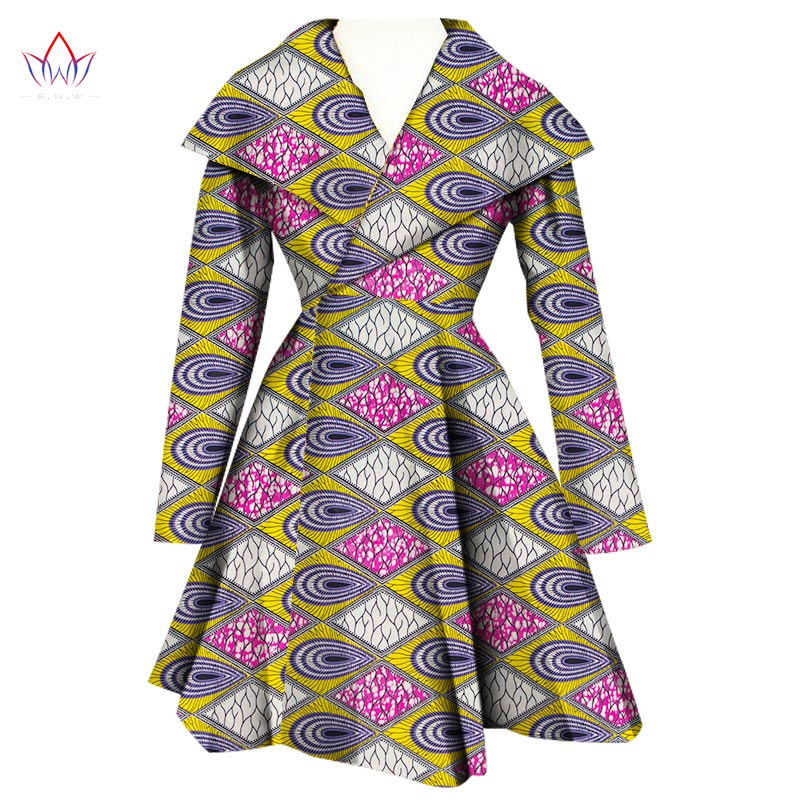 2019 African Coat Traditional Fashion Women Outwear Plus Size Africa Bazin Riche Dashiki Turn-down Collar Trenchcoat WY1112