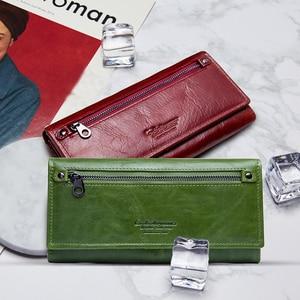 Image 5 - İletişim hakiki deri kadın cüzdan kadın uzun debriyaj fotoğraf tutucu cüzdan büyük kapasiteli çantalar para telefonu çanta