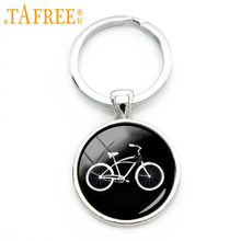 TAFREE Retro black white bike key chain personalized men accessories 2016 minimalist style sports bicycle keychain jewelry KC640