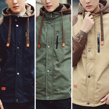 73a942426c2df Men Spring Autumn Hooded Jackets Casual Outwear Long Sleeve Contrast Color Canvas  Jacket Plus Size Hooded